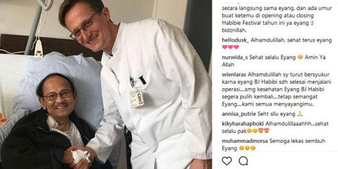 BJ Habibie selepas menjalani operasi pemasangan MitraClip di Jerman (Foto: Instagram)