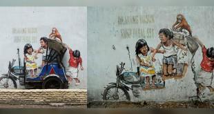 Lukisan mural karya Ernest Zaharevis yang berada di Jalan Perdana, Kelurahan Kesawan, Kecamatan Medan Barat, sebelum dirusak (kiri/nonikhairani) dan sesudah dirusak (WOL Photo/Ega Ibra)