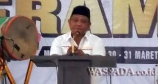 Ketua Harian Rumah Juang Sumut, Surianto SH, saat memberikan kata sambutan, Jumat (30/3).