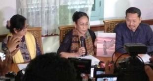 Sukmawati saat meminta maaf kepada umat Islam di Jakarta (foto: Chyntia/Okezone)