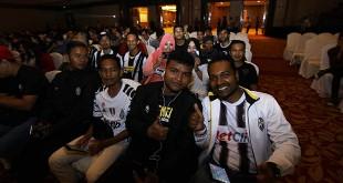 Komunitas fans yang tergabung dalam Juventus Club Indonesia (JCI) di sela-sela acara Gala Dinner, di JW Marriott hotel Medan, Jumat malam  (18/3). (WOL Photo/Ist)
