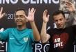 Presiden Pro Duta FC Sihar Sitorus, bersama Pemain bola asal Italia Alessandro Del Piero, seusai acara coaching clinic di pelataran parkir Plaza Medan Fair, Medan, Sumut,  Kamis (17/5) pekan lalu. (WOL Photo/Ist)