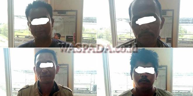 empat tersangka judi yang diamankan Tim Satreskrim Polres Gayo Lues, Sabtu (19/5) di Desa Bustanussalam, Blangkejeren, Gayo Lues. (WOL Photo/Bustanuddin)
