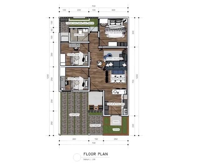 denah dan ukuran rumah 7x12